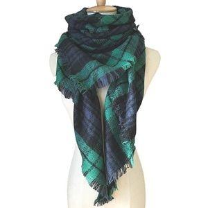 Fall Color Navy Tartan Blanket Scarf Wrap Shawl
